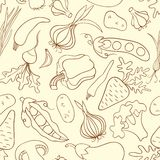 Simple doodle seamless pattern with vegetables royalty free stock image