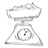 Simple doodle of a set of weighing scales Royalty Free Stock Photography