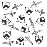 Simple doodle of a shield and sword Royalty Free Stock Photos