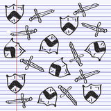 Simple doodle of a shield and sword Royalty Free Stock Photo