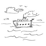 Simple doodle of a ship Royalty Free Stock Photo