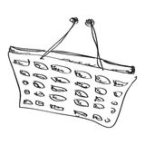 Simple doodle of a shopping basket Stock Photos