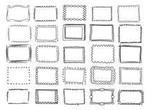Simple doodle, sketch square vector frames.