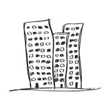 Simple doodle of a skyscraper Stock Photography