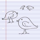 Simple doodle of some birds Royalty Free Stock Images