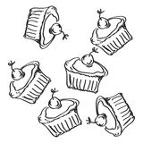 Simple doodle of some cakes Stock Images