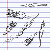 Simple doodle of some paint brushes Royalty Free Stock Image