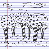 Simple doodle of some trees Stock Photo