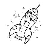Simple doodle of a space rocket Royalty Free Stock Photo