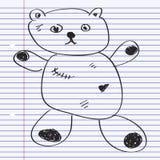 Simple doodle of a teddy bear Stock Photos