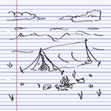 Simple doodle of a tent Stock Images