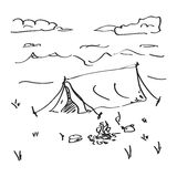 Simple doodle of a tent Royalty Free Stock Photo