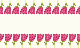 Simple doodle tulip border. Cute flower seamless card. Stock Photo