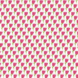 Simple doodle tulip pattern. Cute flower seamless background. Summer wallpaper. Stock Photos