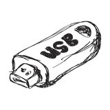 Simple doodle of a usb stick Royalty Free Stock Photos
