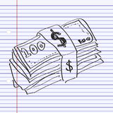 Simple doodle of a wad of bank notes Royalty Free Stock Photo