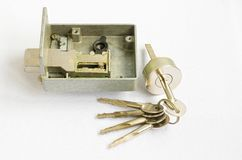 Simple door lock - parts. Royalty Free Stock Image