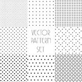 Simple dotted patterns. Seamless vector collection. Black and white texture. Stock Images