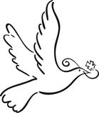 Simple dove. Flying with cross like symbol vector illustration