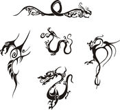 Simple dragon tattoos. Five awesome simple dragon tattoo designs. Vinyl-ready EPS Illustrations, black and white sketches royalty free illustration