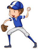 A simple drawing of a baseball player in blue uniform Royalty Free Stock Images