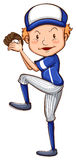 A simple drawing of a baseball player Royalty Free Stock Photo