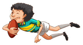 A simple drawing of a boy playing rugby Royalty Free Stock Images