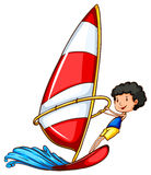 A simple drawing of a boy sailing Royalty Free Stock Image