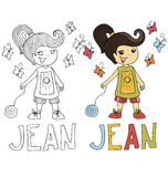 The simple drawing cartoon for coloring  image of children with different names in the compatibility with the character. The simple drawing cartoon and with Royalty Free Stock Images