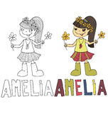 The simple drawing cartoon for coloring  image of children with different names in the compatibility with the character Royalty Free Stock Image