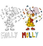 The simple drawing cartoon for coloring  image of children with different names in the compatibility with the character. The simple drawing cartoon and with Royalty Free Stock Image
