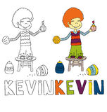 The simple drawing cartoon for coloring  image of children with different names in the compatibility with the character Stock Image