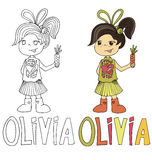 The simple drawing cartoon for coloring  image of children with different names in the compatibility with the character Royalty Free Stock Images