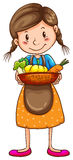 A simple drawing of a farm girl Royalty Free Stock Image