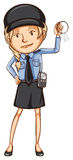 A simple drawing of a female guard Royalty Free Stock Images