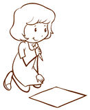 A simple drawing of a girl writing Royalty Free Stock Images