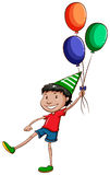 A simple drawing of a happy young boy with balloons Royalty Free Stock Photos