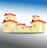 Simple drawing of house. Simple drawing house on  color background Stock Images