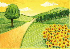 Simple Drawing of a Landscape Stock Photography