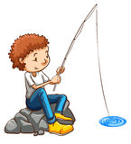 A simple drawing of a man fishing Stock Image