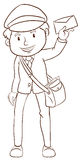 A simple drawing of a postman Royalty Free Stock Image
