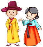 Simple drawing of two Asian people Stock Photography