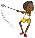 A simple drawing of a young boy throwing a ball Royalty Free Stock Photo