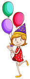 A simple drawing of a young girl with balloons Royalty Free Stock Image
