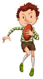 A simple drawing of a young rugby player Stock Image