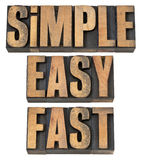 Simple, easy and fast in wood type. Simple, easy and fast - a collage of isolated words in vintage letterpress wood type stock photography