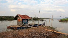 Simple and easy way of living along  mekong riverside. Slmple and easy life self reliance  boathouse  vegetable garden  fishing by mekong river side between laos Stock Photography