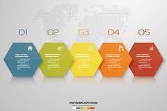 Simple&editable 5 kroków proces Simple&Editable projekta abstrakcjonistyczny element wektor Zdjęcie Royalty Free
