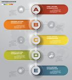 Simple&editable 5 steps process. Simple&Editable abstract design element. Vector. EPS 10 Stock Image