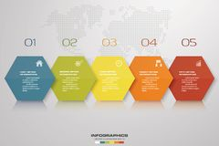Simple&editable 5 steps process. Simple&Editable abstract design element. Vector. EPS 10 vector illustration
